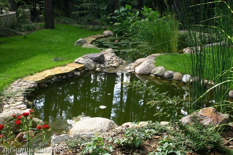 Pomysł na oczko wodne w ogrodzie - kamienie, rośliny, a może drewniany podest [ZDJĘCIA]
