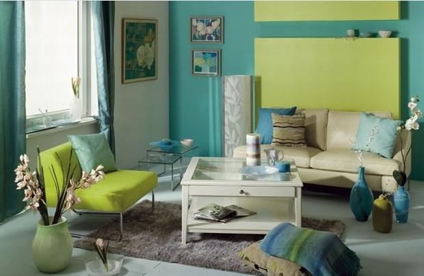 Aranżacja salonu: salon w kolorze niebieskim i turkusowym
