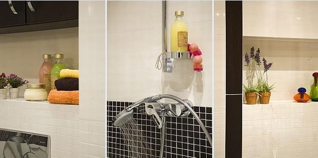 Jasne płytki w łazience współgrają z ciemnymi